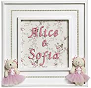 Quadro Princesa Gemêas, Quarto Bebê Infantil Menina, Potinho de Mel, Rosa