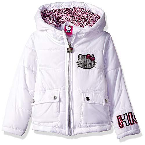 (Hello Kitty Little Girls Puffer Jacket with Hood, White, 5)