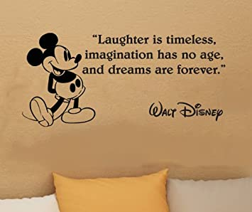 Walt Disney Mickey Mouse Laughter Is Timeless Wall Quote Vinyl Wall Art  Decal Sticker Part 98
