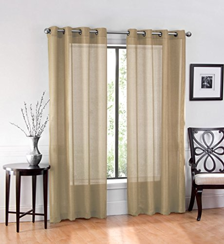GoodGram High Woven Elegant Sheer Grommet Curtain Panels - Assorted Colors (2 Pack)
