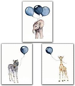 "Zebra Elephant Deer Blue Balloon Baby Nursery Wall Art Poster Decor - 8""x10"" Unframed Set of 3 Prints - Gender Neutral Boy Girl Kids Room Wall Décor"