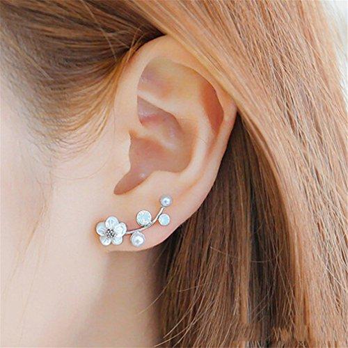 Flowers Shell Earrings (Yesido. Shell Pearl Earrings Flowers Silver Plated Earrings)