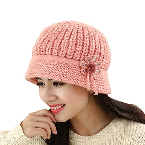 Longay Fashion Womens Flower Knit Crochet Beanie Hat Winter Warm Cap Beret (Pink)]()