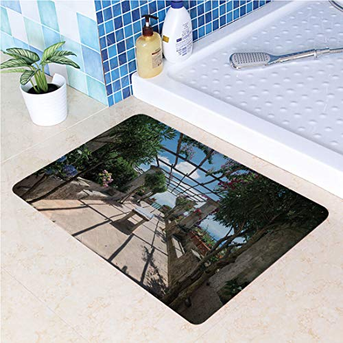 Non-Slip Rubber Back Extremely Durable Anti-Slip Water Resistant Floor Mat Beautiful Panorama Villa Rufolo Ravello Amalfi Coast Historical Famous Nature for Kitchen Hallway Entrance Doormat Home Déco]()
