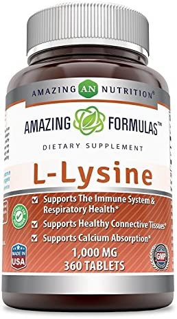 Amazing Nutrition Amazing Formulas L-Lysine – 1000mg Amino Acid Vitamin Tablets – Commonly Used for Cold Sores, Shingles, Immune Support, Respiratory Health More – 360 Vegetarian Tablets