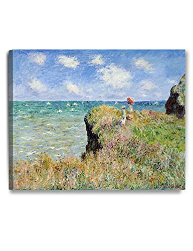DECORARTS - The Cliff Walk at Pourville, Claude Monet Art Reproduction. Giclee Canvas Prints Wall Art Home Decor 30x24