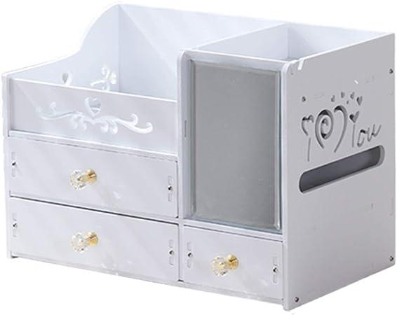 Organizador Maquillaje de almacenamiento Organizador de maquillaje Escritorio moderno Caja de almacenamiento de cosméticos Hogar con espejo Caja de maquillaje Estante para el cuidado de la piel Cajone: Amazon.es: Hogar