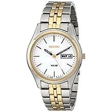Seiko Men's SNE032 Two-Tone Solar White Dial Watch