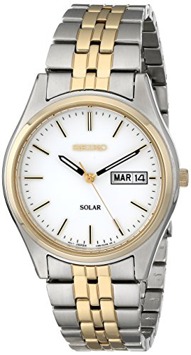 (Seiko Men's SNE032 Two-Tone Stainless Steel Solar Watch)