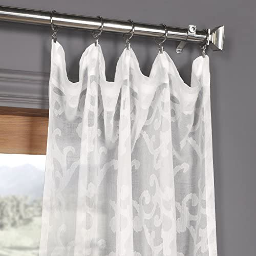 HPD Half Price Drapes SHCH-11745-108 Patterned Faux Linen Sheer Curtain 1 Panel , 50 X 108, Paris Scroll