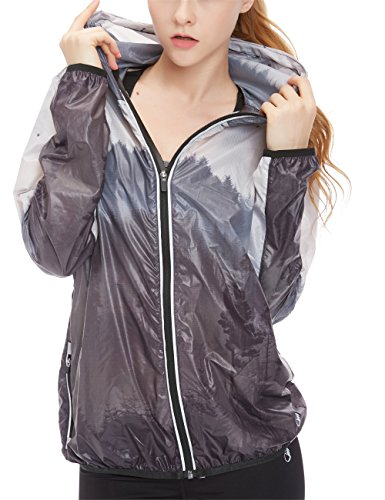 Icyzone Women's Printed Windbreaker Outdoor Light Running Jacket (XL, Dark Forest)