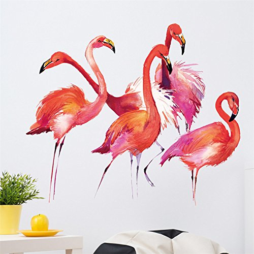 AMAZING WALL 37x29.5cm/14.6x11.6 Cartoon Flamingo Decorations Wall Sticker Living Room Bedroom Kids' Room Nursery Decor Home Removeable 1PCS/Set