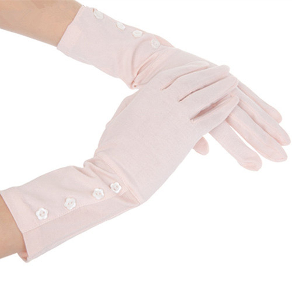 Kenmont Women Summer UV Protection Cotton Lace Gloves || Outdoor Sports Fishing Gloves || Nail Dryer Gloves, Pink Gloves ,Large
