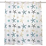 Beach Shower Curtain Hookless, PEVA Shower Curtain Liner Mildew Resistant Water- Repellent Bathroom Shower Curtain for Bathroom Hotel, 71''X71'' Starfish