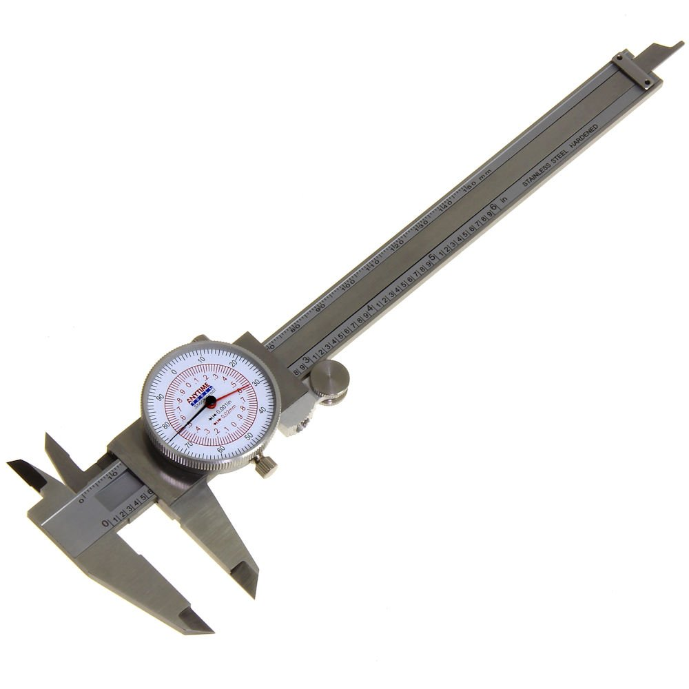 Anytime Tools Dial Caliper 6 150mm DUAL Reading Scale METRIC SAE Standard INCH MM