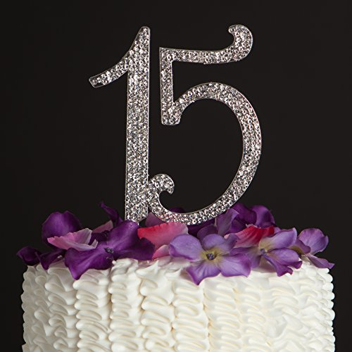 15 Cake Topper 15th Birthday Anniversary Quinceañera Party Supplies Rhinestone Number Decoration (Silver) (Centerpieces For Quinceanera)