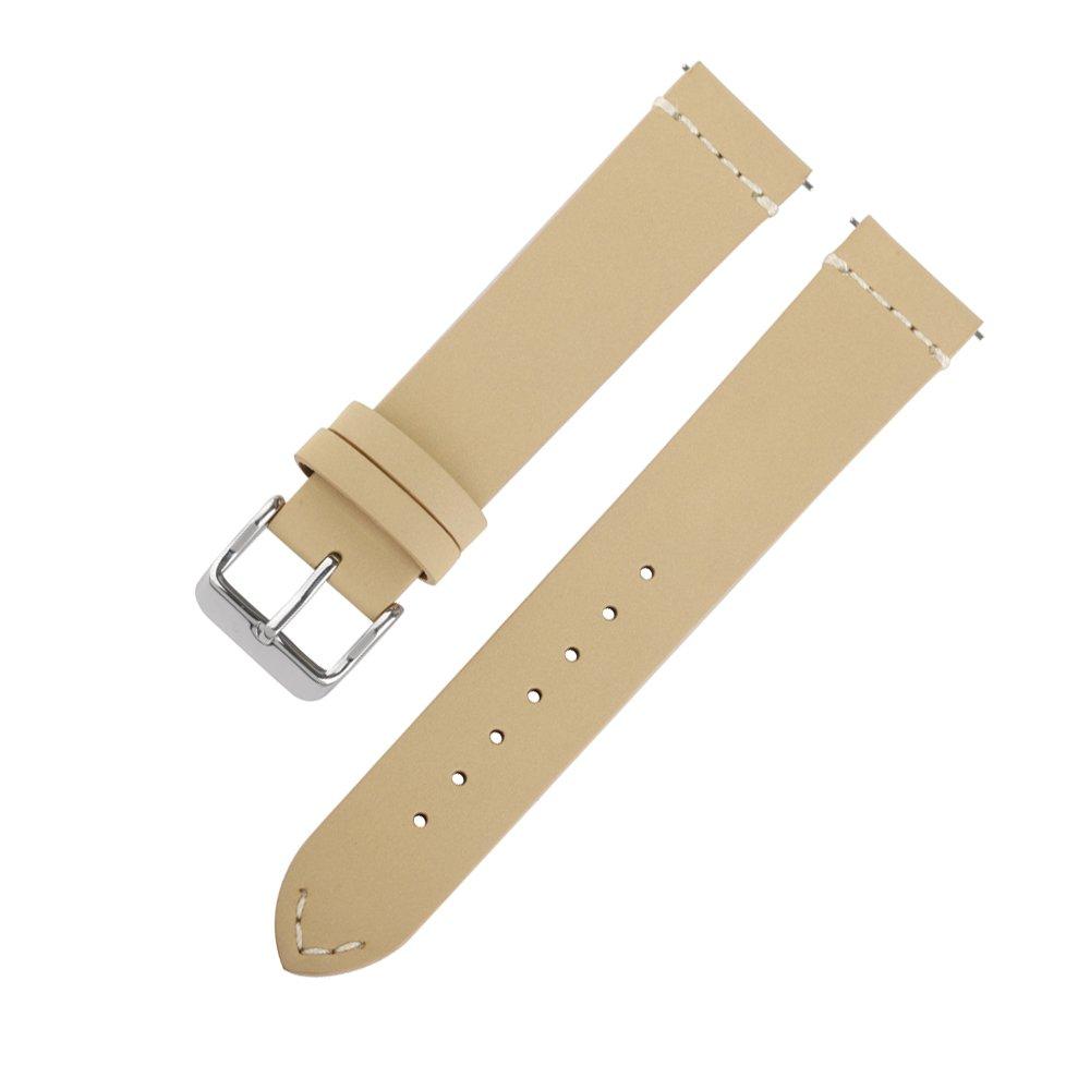 Ivystore Watch Strap 18mm 20mm 22mm SOFT Nubuck Top Grain Genuine Leather Sport Watch Strap Smart Watch Band with Quick Release Spring Bar Bonus With Steel Buckle (20mm, Beige)