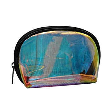 3e051ea108cb Holographic Makeup Bag Clear Transparent Cosmetic Bag Small Iridescent  Clutch Purse Toiletries Pouch...