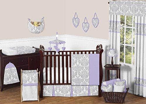 Lavender, Gray and White Elizabeth Damask Print Baby Bedding Collection Girl 11pc Crib Set without (Elizabeth Baby Bedding)
