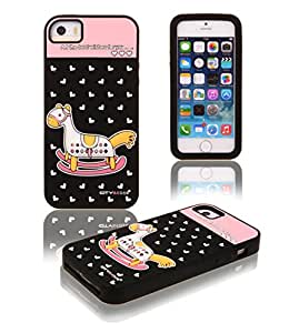 KISS GOLD Childlike 3D Little Rocking Horse&Heart Soft Silicone Gel Protective Case Cover for Apple iPhone 5/5s (Black)