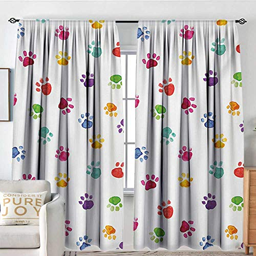 Petpany Living Room Curtains Colorful,Hand Painted Illustration of