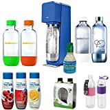 SodaStream Source Soda Maker(Metal) Blue Exclusive Kit 4 Bottles CO2 1L Carbonating Bottles, 2 Hydra Bottles Purple&Pink, Waters Zeros w/Cran Rasberry Flvr, Water Fruits Berry Mix, Essence Lemon