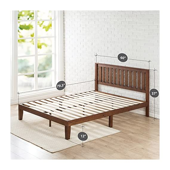 Zinus Vivek 12 Inch Wood Platform Bed with Headboard / No Box Spring Needed / Wood Slat Support / Antique Espresso… - Easy to assemble and no box Spring needed 37 inch high wood paneled headboard Strong wood slat mattress support for increased mattress life - bedroom-furniture, bedroom, bed-frames - 51vNWuXwS1L. SS570  -