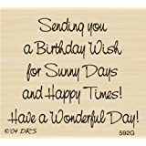 Overflowing Birthday Greeting Rubber Stamp By DRS Designs