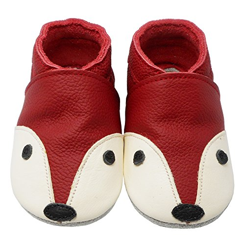 YIHAKIDS Soft Sole Baby Shoes Infant Toddler Leather Moccasins Cute Fox Slippers (4-4.5 US/0-6 MO./4.7in, Red) - Image 1