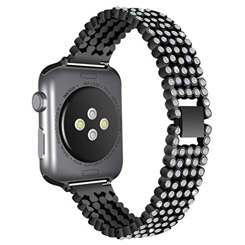Alonea Apple Watch Band, Luxury Alloy With Crystal Link Bracelet Watch Band Strap For Apple Watch (42MM Black) ()
