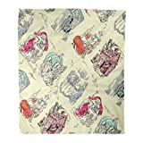Emvency Throw Blanket Warm Cozy Print Flannel Cinderella Fairy Tale Toile Inspired by in Antique Children Books Fantasy Comfortable Soft for Bed Sofa and Couch 50x60 Inches