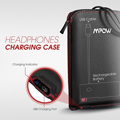 Mpow USB Charging Case for Sport Bluetooth Headphones, Portable Battery Charger Case, Rechargeable Universal Protective Carrying Case, Charge Case for Earbuds/Cable/Small Accessories, Travel Pouch