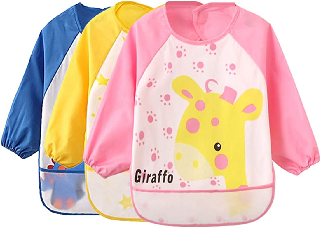 6-36 Months Baby Bibs Waterproof and Wipeable-Eat and Play Smock Apron