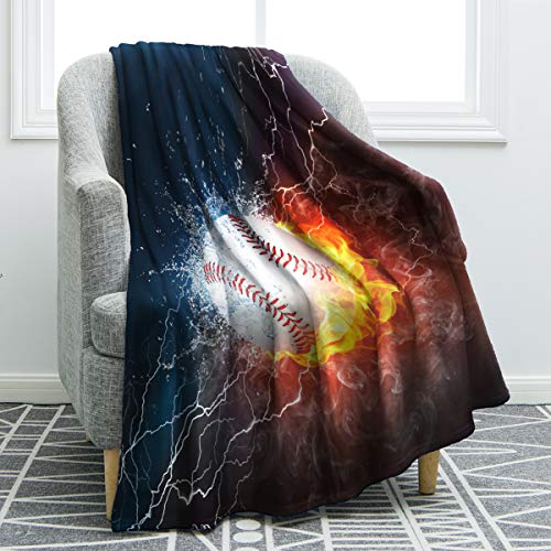 Jekeno Baseball Blanket Print Cozy Ligtweight Durable Bed Couch Blanket Plush Microfiber 50