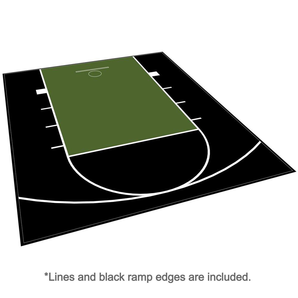 アウトドアBasketball Courtフローリング – Half Courtキット20 ft x 24 ft – 線とエッジIncluded – Made in the USA B019J569RY ブラック/グリーン