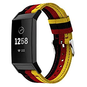 Nylon Band Replacement for Fitbit Charge 3 Wristband Fitbit Bands Casual Design (B)