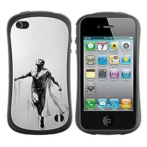 """Hypernova Slim Fit Dual Barniz Protector Caso Case Funda Para Apple iPhone 4 / iPhone 4S [Flying Músculos hombre del Cabo""""]"""