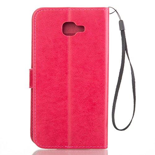 JIALUN-Personality teléfono shell Funda Samsung Galaxy A9, Estuche Retro Color Sólido Folio Caja de Kickstand con correa de mano Funda Protecitve Shell para Samsung Galaxy A9 Seguridad y Moda ( Color  Rose Red
