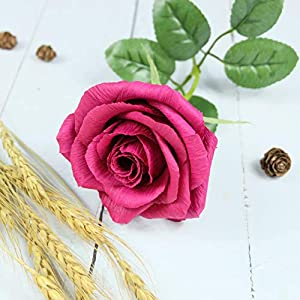 Red Paper Rose Realistic Handmade Crepe Paper Flower for Christmast Decorations Love Valetine Day Wedding Bridal Bouquet, Single Long Stem 81
