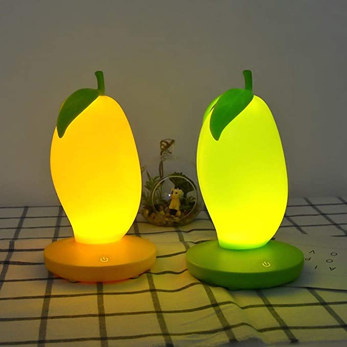 ZCHPDD Creativo Sensible Al Tacto Led Luz De Noche En Forma De Mango Carga USB Atenuación Luces Led Niños Decoración del Hogar Lámpara De Noche Luces De Frutas Verde 100 * 80 *