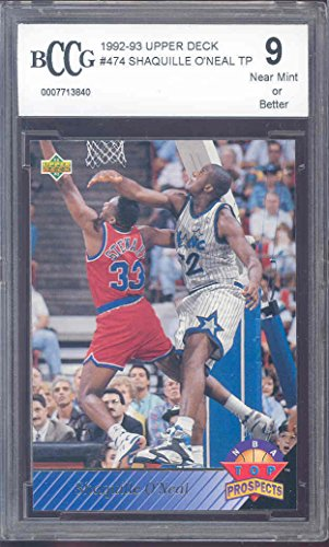 (1992-93 upper deck #474 SHAQUILLE O'NEAL TP orlando magic rookie BGS BCCG 9 graded card )