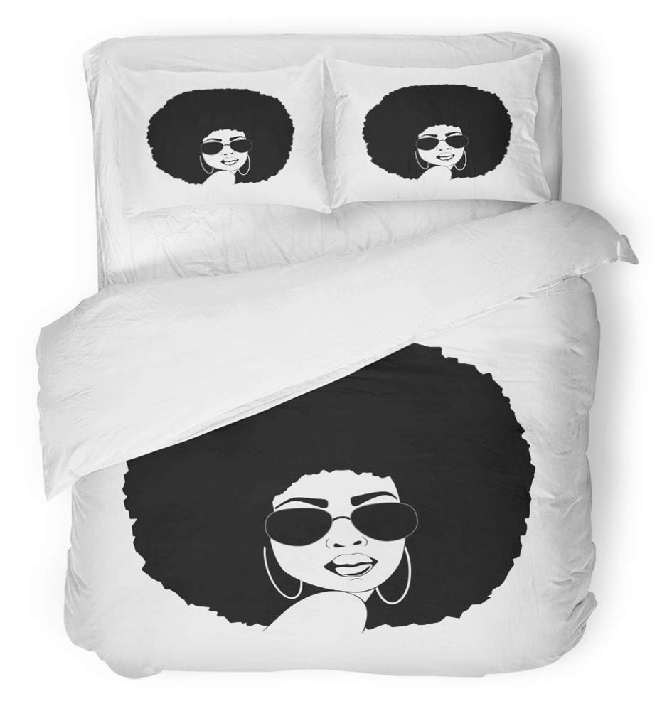 Emvency 3 Piece Duvet Cover Set Breathable Brushed Microfiber Fabric Brown Afro Portrait of Beautiful African America Woman with Attitude in Hair Bedding Set with 2 Pillow Covers Twin Size