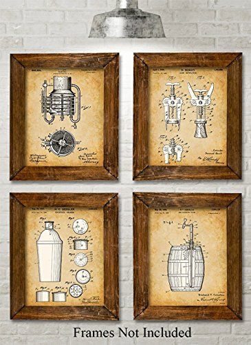 Original Bar Patent Prints - Set of Four Photos (8x10) Unframed - Great Gift for Bartenders or Alcohol Lovers