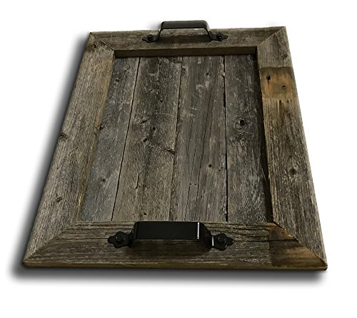 Old Farmhouse Barnwood Rustic Wood Serving Tray with Black Handles Authentic Weathered Wood, - Rustic Tray Large