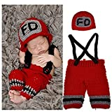 Eyourhappy Newborn Baby Photography Props Costume Handmade Crochet Knit Fireman Caps Pants (Red)