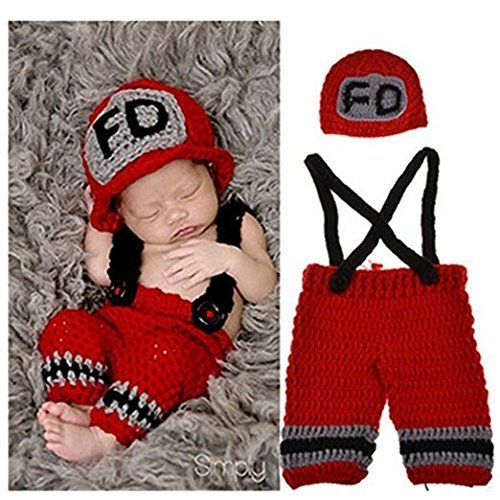 Eyourhappy Newborn Baby Photography Props Costume Handmade Crochet Knit Fireman Caps Pants (Red) by Eyourhappy