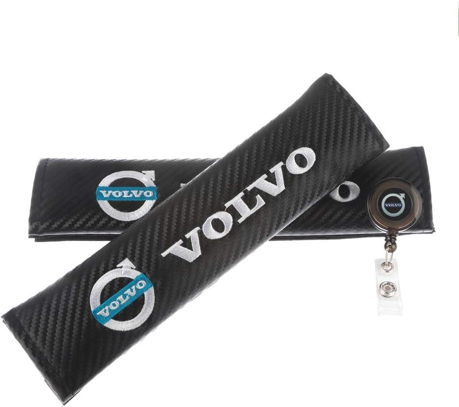 Clavel Autopartes 2pcs Car Seat Belts Covers Padding Carbon Fiber Leather Belt Shoulder Sleeve 1pc Retractable Badge Reel with Metal Belt Clip Volvo