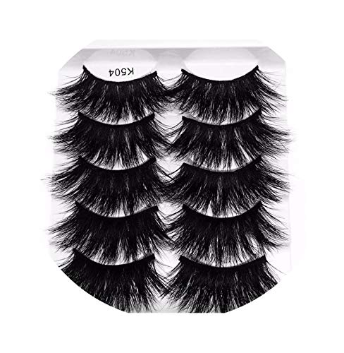 5 Pairs 3D Mink Hair False Eyelashes Criss-Cross Wispy Cross Fluffy 22Mm-25Mm Lashes Extension Handmade Eye Makeup Tools,504]()