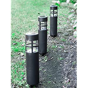 Grant Park 6-Pack Bollard Style Matte Black LED Solar Lights for Outdoor Landscape Yard Pathway Garden Lighting