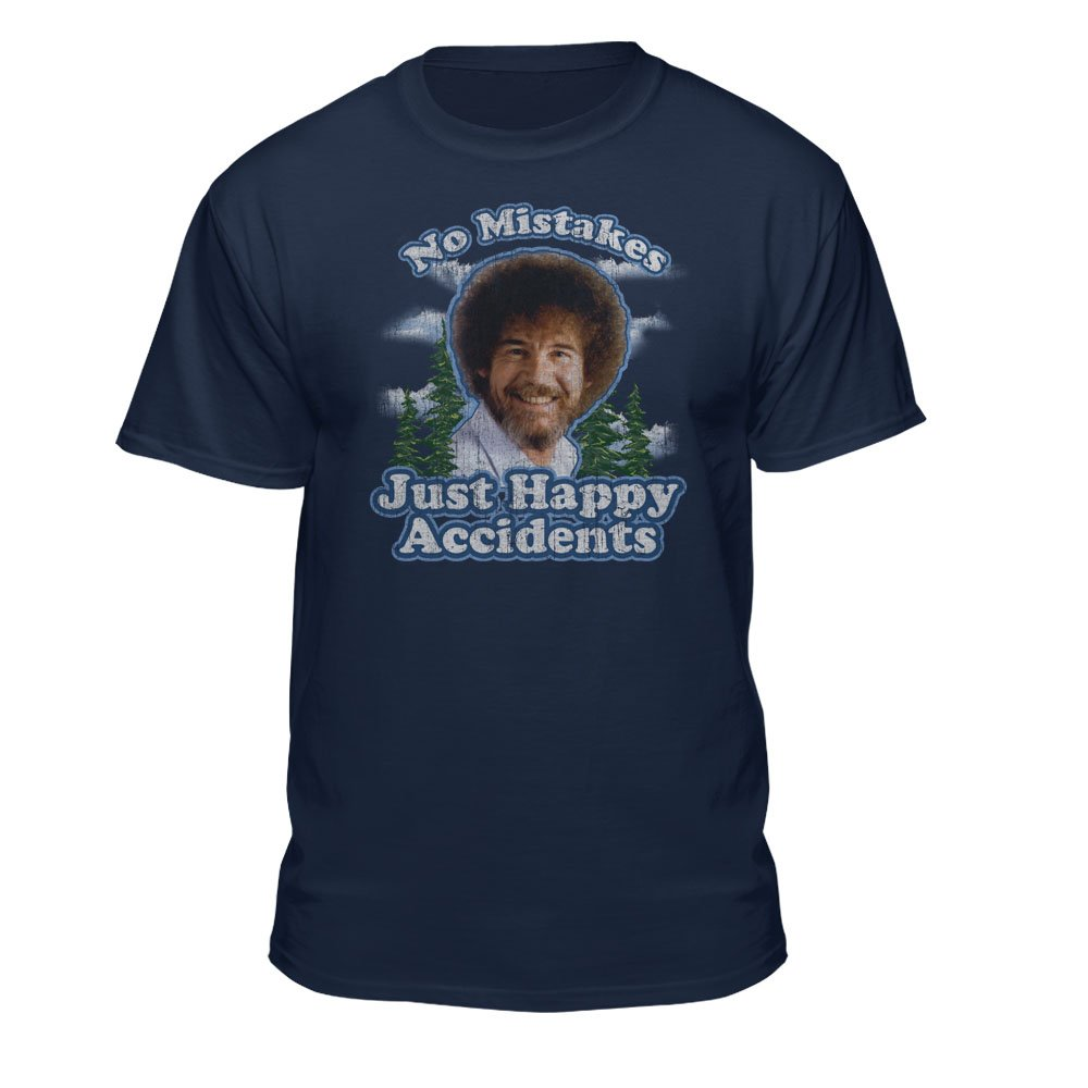 - Bob Ross No Mistakes Just Happy Accidents Official Licensed T-Shirt